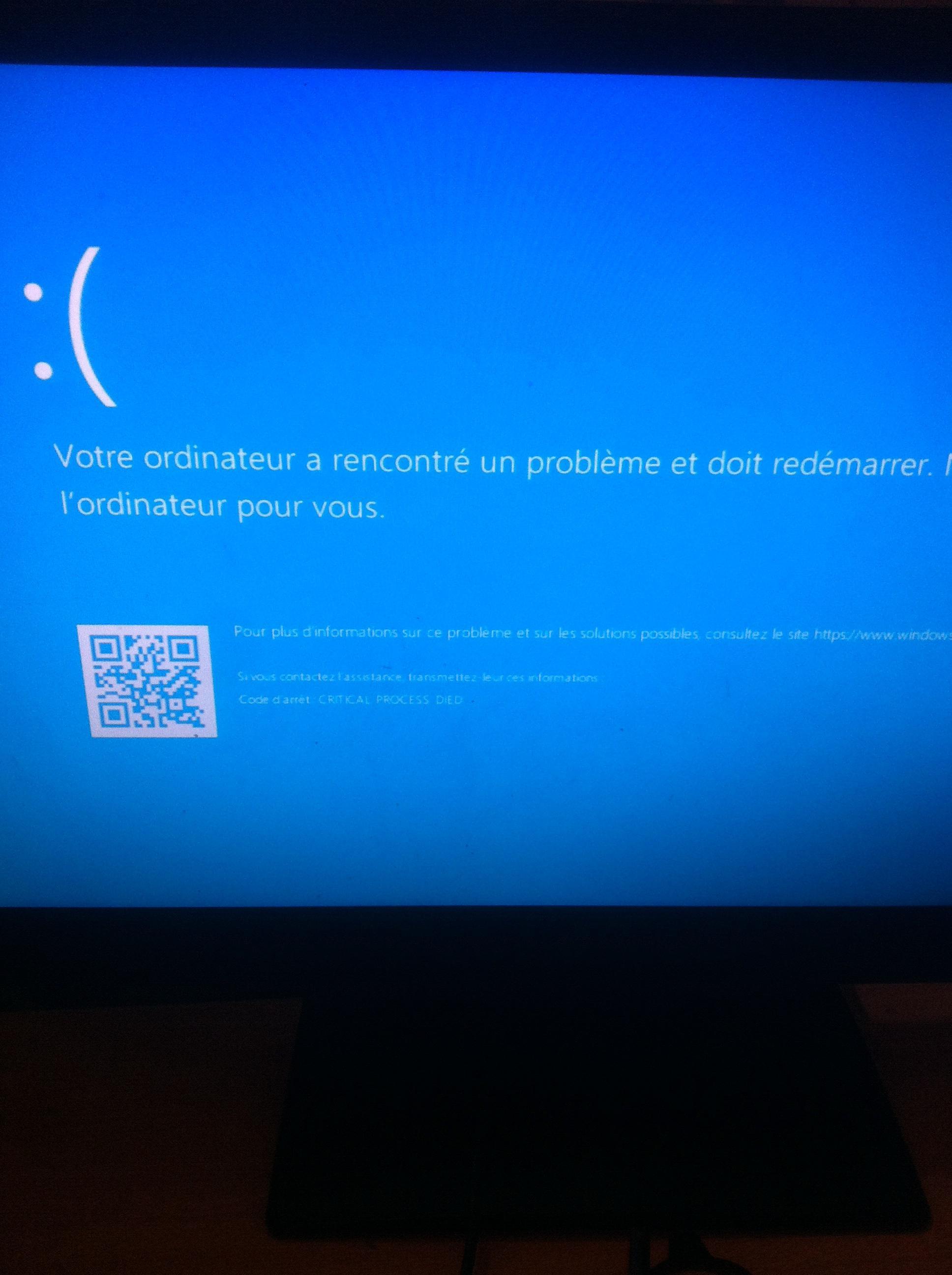 Windows 8 a rencontre un probleme et doit redemarrer
